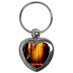 Artistic Effect Fractal Forest Background Key Chains (heart)