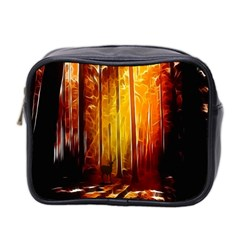 Artistic Effect Fractal Forest Background Mini Toiletries Bag 2 Side by Simbadda