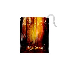 Artistic Effect Fractal Forest Background Drawstring Pouches (xs)  by Simbadda