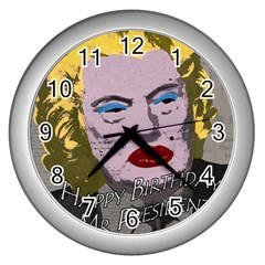 Happy Birthday Mr  President  Wall Clocks (silver)  by Valentinaart