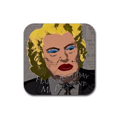 Happy Birthday Mr  President  Rubber Square Coaster (4 Pack)  by Valentinaart