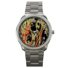 Artistic Effect Fractal Forest Background Sport Metal Watch by Simbadda