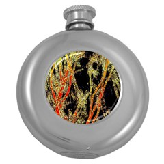 Artistic Effect Fractal Forest Background Round Hip Flask (5 Oz) by Simbadda