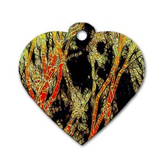 Artistic Effect Fractal Forest Background Dog Tag Heart (two Sides) by Simbadda
