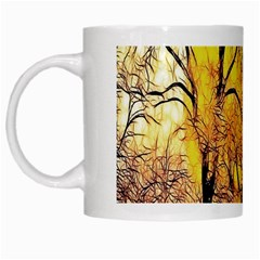 Summer Sun Set Fractal Forest Background White Mugs