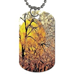 Summer Sun Set Fractal Forest Background Dog Tag (two Sides) by Simbadda