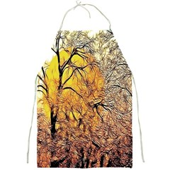 Summer Sun Set Fractal Forest Background Full Print Aprons by Simbadda