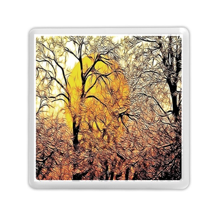 Summer Sun Set Fractal Forest Background Memory Card Reader (Square)