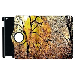 Summer Sun Set Fractal Forest Background Apple Ipad 3/4 Flip 360 Case by Simbadda