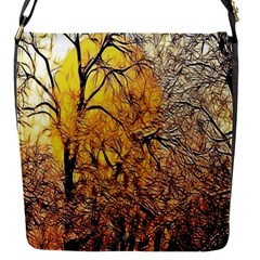 Summer Sun Set Fractal Forest Background Flap Messenger Bag (s) by Simbadda