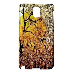 Summer Sun Set Fractal Forest Background Samsung Galaxy Note 3 N9005 Hardshell Case by Simbadda