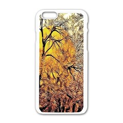 Summer Sun Set Fractal Forest Background Apple Iphone 6/6s White Enamel Case by Simbadda