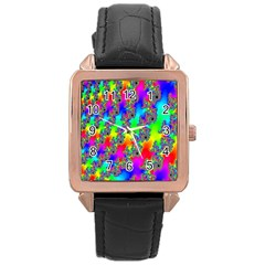 Digital Rainbow Fractal Rose Gold Leather Watch