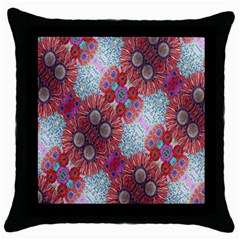 Floral Flower Wallpaper Created From Coloring Book Colorful Background Throw Pillow Case (black) by Simbadda