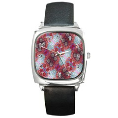 Floral Flower Wallpaper Created From Coloring Book Colorful Background Square Metal Watch by Simbadda