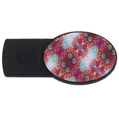 Floral Flower Wallpaper Created From Coloring Book Colorful Background Usb Flash Drive Oval (4 Gb) by Simbadda