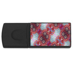 Floral Flower Wallpaper Created From Coloring Book Colorful Background Usb Flash Drive Rectangular (4 Gb)