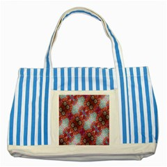 Floral Flower Wallpaper Created From Coloring Book Colorful Background Striped Blue Tote Bag by Simbadda