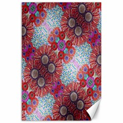 Floral Flower Wallpaper Created From Coloring Book Colorful Background Canvas 24  X 36  by Simbadda