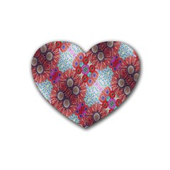 Floral Flower Wallpaper Created From Coloring Book Colorful Background Heart Coaster (4 Pack)  by Simbadda