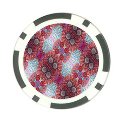 Floral Flower Wallpaper Created From Coloring Book Colorful Background Poker Chip Card Guard by Simbadda