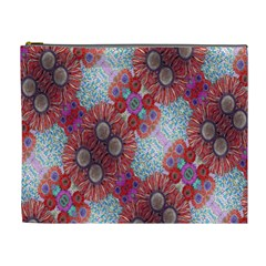 Floral Flower Wallpaper Created From Coloring Book Colorful Background Cosmetic Bag (xl) by Simbadda
