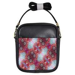Floral Flower Wallpaper Created From Coloring Book Colorful Background Girls Sling Bags by Simbadda