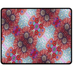 Floral Flower Wallpaper Created From Coloring Book Colorful Background Fleece Blanket (medium)