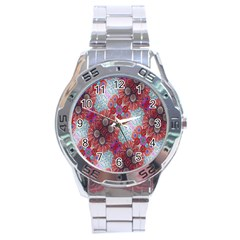 Floral Flower Wallpaper Created From Coloring Book Colorful Background Stainless Steel Analogue Watch by Simbadda