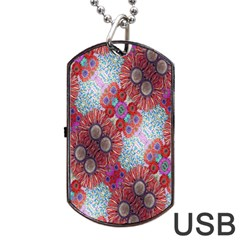 Floral Flower Wallpaper Created From Coloring Book Colorful Background Dog Tag Usb Flash (one Side) by Simbadda