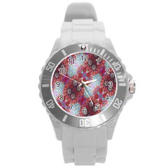 Floral Flower Wallpaper Created From Coloring Book Colorful Background Round Plastic Sport Watch (l) by Simbadda