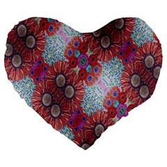 Floral Flower Wallpaper Created From Coloring Book Colorful Background Large 19  Premium Heart Shape Cushions by Simbadda