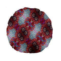Floral Flower Wallpaper Created From Coloring Book Colorful Background Standard 15  Premium Flano Round Cushions by Simbadda