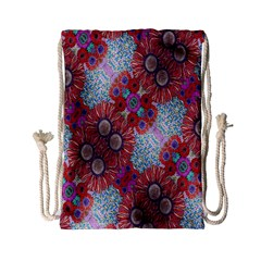 Floral Flower Wallpaper Created From Coloring Book Colorful Background Drawstring Bag (small) by Simbadda