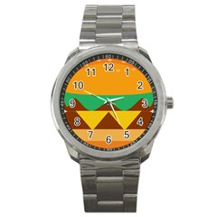 Hamburger Bread Food Cheese Sport Metal Watch by Simbadda