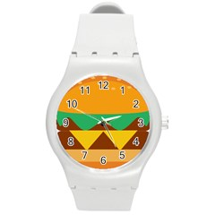 Hamburger Bread Food Cheese Round Plastic Sport Watch (m) by Simbadda
