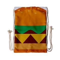 Hamburger Bread Food Cheese Drawstring Bag (small) by Simbadda