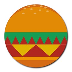 Burger Bread Food Cheese Vegetable Round Mousepads by Simbadda