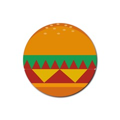 Burger Bread Food Cheese Vegetable Rubber Round Coaster (4 Pack)  by Simbadda