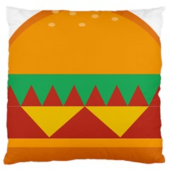 Burger Bread Food Cheese Vegetable Large Cushion Case (one Side) by Simbadda