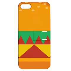 Burger Bread Food Cheese Vegetable Apple Iphone 5 Hardshell Case With Stand by Simbadda