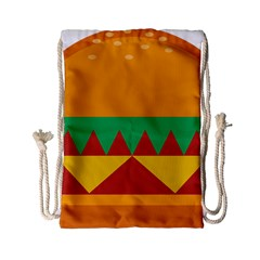 Burger Bread Food Cheese Vegetable Drawstring Bag (small) by Simbadda
