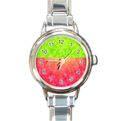Colorful Abstract Triangles Pattern  Round Italian Charm Watch by TastefulDesigns