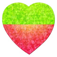 Colorful Abstract Triangles Pattern  Jigsaw Puzzle (heart) by TastefulDesigns