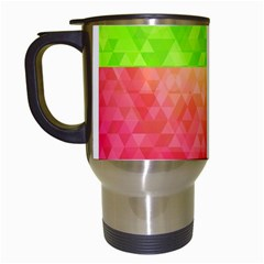 Colorful Abstract Triangles Pattern  Travel Mugs (white) by TastefulDesigns