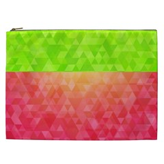 Colorful Abstract Triangles Pattern  Cosmetic Bag (xxl)  by TastefulDesigns