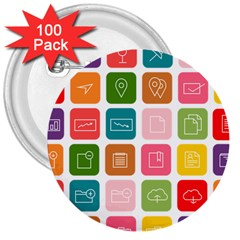 Icons Vector 3  Buttons (100 Pack)