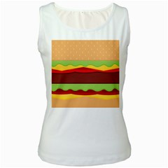 Vector Burger Time Background Women s White Tank Top