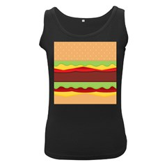 Vector Burger Time Background Women s Black Tank Top