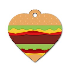 Vector Burger Time Background Dog Tag Heart (two Sides) by Simbadda